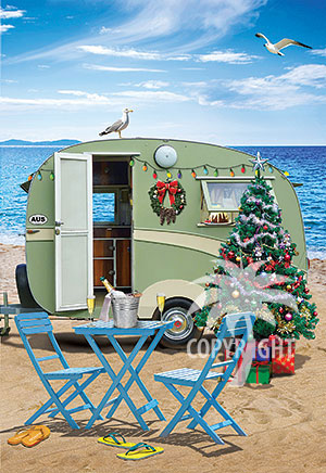 Caravan Christmas holiday by the sea