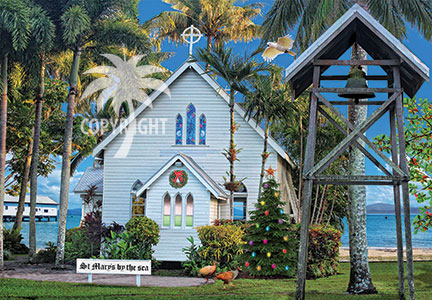 christmas church by the sea