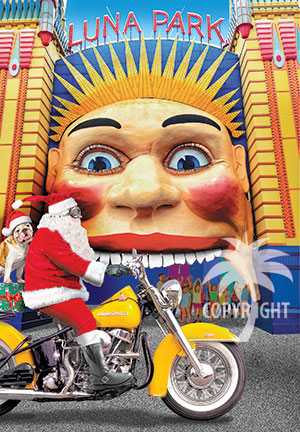 santa on a motorcycle, luna park