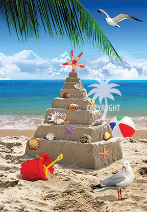 christmas sandcastle on beach