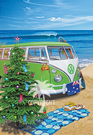 beach surfing christmas with kombi