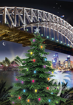 christmas with sydney harbour bridge, opera house